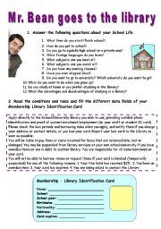 English Worksheet: Mr Bean goes to the library -  VIDEO SESSION