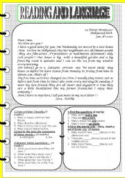 English Worksheets: Reading Comprehension and language