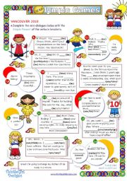 English Worksheet: Dialogue series - Olympic Games   (Grammar practice - Simple Present)