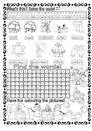 English Worksheets: Winter - Solve the code