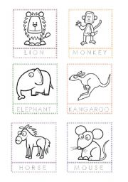 English Worksheet: Animal Flashcards for painting and writing the letters (2)
