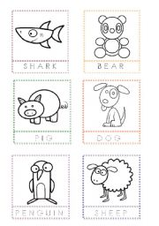 English Worksheet: Animal Flashcards for painting and writing the letters (3)