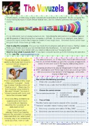 English Worksheets: Vuvuzela - Reading Comprehension with Key