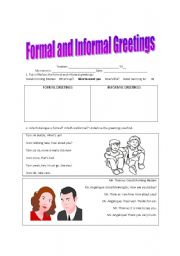 English worksheets formal and informal greetings english worksheet formal and informal greetings m4hsunfo