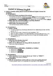 Formal and Informal English KEY