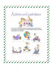English Worksheets: Activities and Pastimes