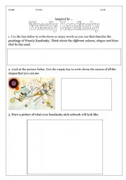 English Worksheets: Examining artwork- Wassily Kandinsky- Grade2