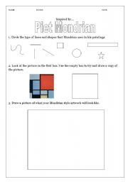 English Worksheets: Examining the work of Piet Mondrian