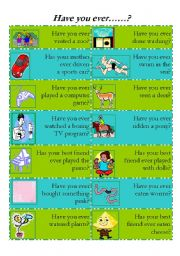 English Worksheet: Have you ever......?-speaking (set 2)