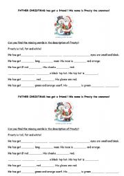 English Worksheet: Description of Father Christmas and Frosty the Snowman