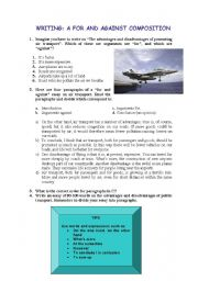 English Worksheet: writing: road safety for and against composition