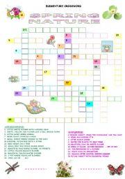 English worksheets spring nature elementary crossword for Japanese flower arranging crossword clue