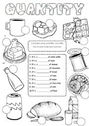 English Worksheet: food quantities
