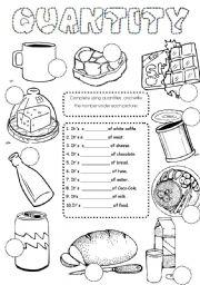 English Worksheets: food quantities