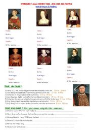 English Worksheets: Henry VIII and his wives- Webquest
