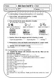 English Worksheet: test listening grammar