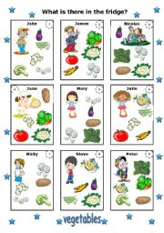 English Worksheet: what is there in the fridge - vegetables (editable)