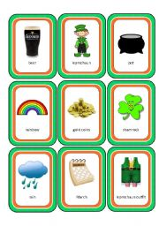 English Worksheets: St.Patrick´s Day Memory Cards (18 images in all with backing cards)