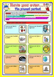 English Worksheets: the present perfect tense game: speaking (cards and dice)
