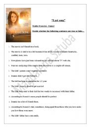 English Worksheet: The Last Song trailer exercises with Miley Cyrus