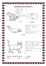 English Worksheets: Mammalian Animals