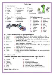 English Worksheet: Movies