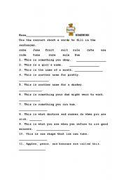 English Worksheets: Long u Definitions