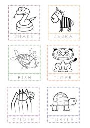 English Worksheets: Animal Flashcards for painting and writing the letters (4)