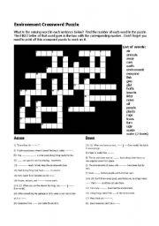 English Worksheets: Enviorment Crossword
