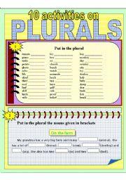 English Worksheets: PLURALS - 10 DIFFERENT ACTIVITIES