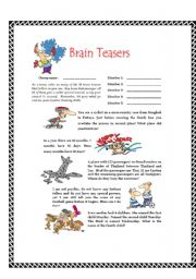 English Worksheet: Brain Teasers
