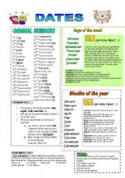 English Worksheet: DATES - PREPOSITIONS OF TIME