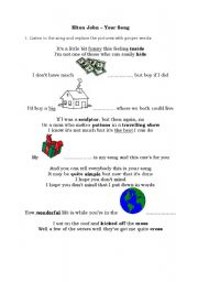 English Worksheets: Elton John - Your Song