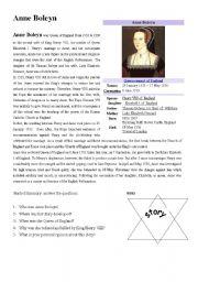 English Worksheets: Anne Boleyn