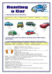 English Worksheet: Renting a car