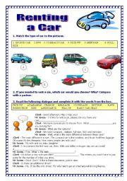 English Worksheet: Renting a car