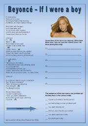 English Worksheet: Beyoncé - If I were a boy