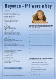 English Worksheets: Beyoncé - If I were a boy