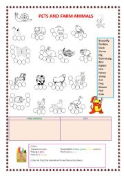 English Worksheets: pets and farm animals