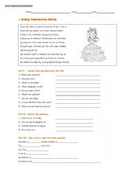 English Worksheets: Reading comprehension activity (test)