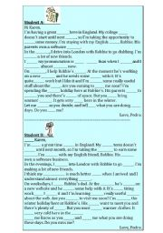 English Worksheet: Dictation in pairs, a letter