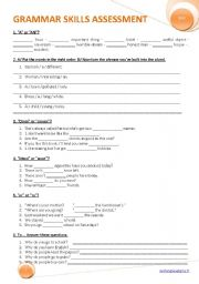 English Worksheets: GRAMMAR SKILLS ASSESSMENT
