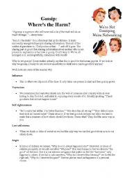 English Worksheet: GOSSIP: WHERE´S THE HARM?