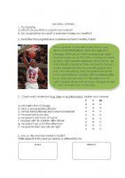 English Worksheets: Michael Jordan�s daily routine
