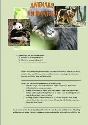 English Worksheets: ANIMALS IN DANGER READING COMPREHENSION (2 PAGES)