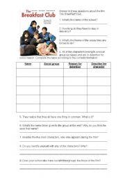 English Worksheet: The Breakfast Club worksheet