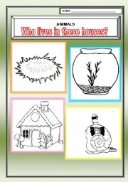 English Worksheets: Who lives in these houses?