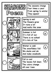 English Worksheets: SEASONS POEM