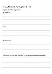 English Worksheets: Marley & Me (book) Chapters 1 ~ 12