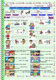 English Worksheets: Don�t - Doesn�t  + Occupations.